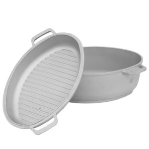 Poultry roaster with thick bottom and frying lid grill Г401