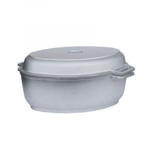 Poultry roaster with thick bottom and frying lid grill Г401*