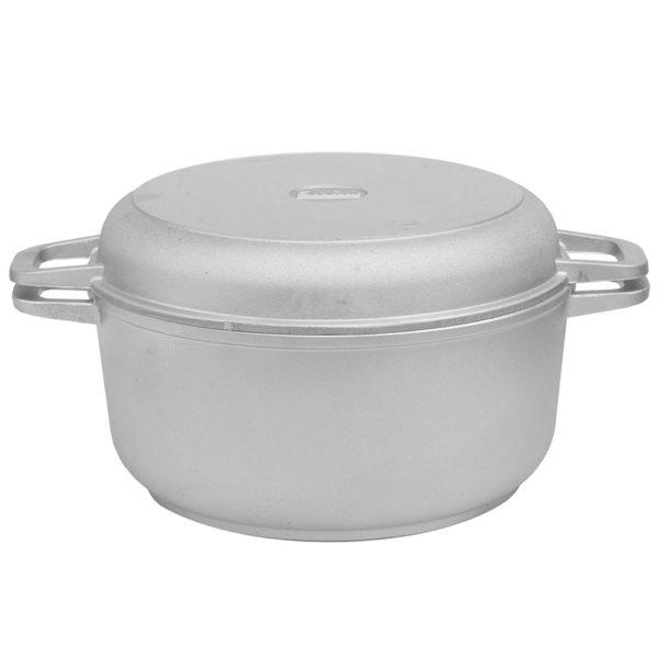Кастрюля литая алюминиевая с утолщенным дном и крышкой-сковородой