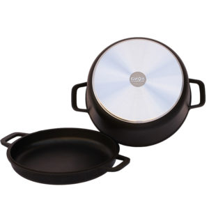 Casserole with 2 aluminum handles and frying lid K202P
