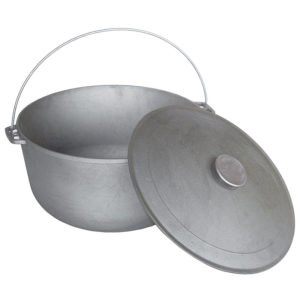 Cast iron tourism kazan with bail and lid 0720