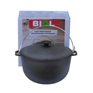 Cast iron tourism kazan with bail and lid 0706