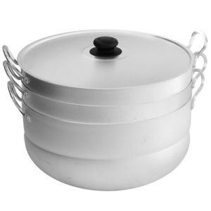 Cooking pot for dumplings with 2 grates 18132