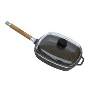 Grill-pan with detachable handle and glass lid 1026C