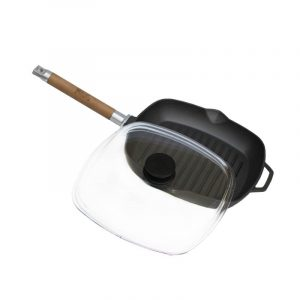 Grill-pan with detachable handle and glass lid 1026С