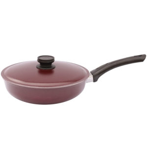 Frying pan with flat bottom and lid A203D