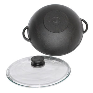 Cast iron WOK with glass lid 0526С
