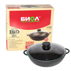 Cast iron WOK with glass lid 0526C