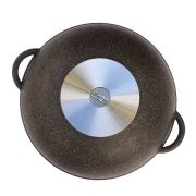"Frying pan Wok ""Granite brown"" with glass lid"