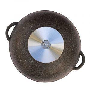 "Frying pan Wok ""Granite brown"" with glass lid"