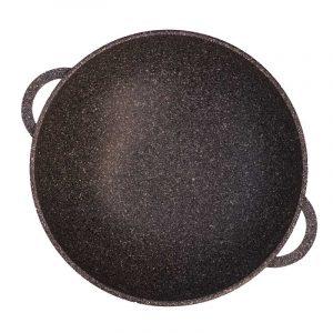 Сковорода Wok «Гранит браун» со стеклянной крышкой 28033ПС
