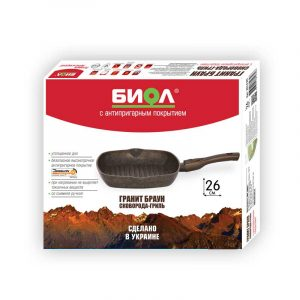 "Grill pan ""Granite brown"" with detachable handle with soft touch coating, without lid"