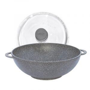 Сковорода Wok Гранит грей со стеклянной крышкой