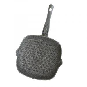 Сковорода-гриль Гранит грей cо съемной ручкой с покрытием софт тач, без крышки