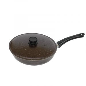 Frying pan with flat bottom and lid А263ДК