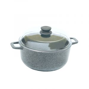 Pan «Induction» (granite grey) with glass lid with induction bottom K404IC