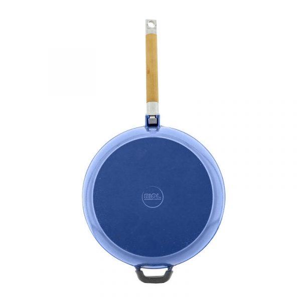 Сковорода чугунная, эмаль синяя, съемная ручка 03244E