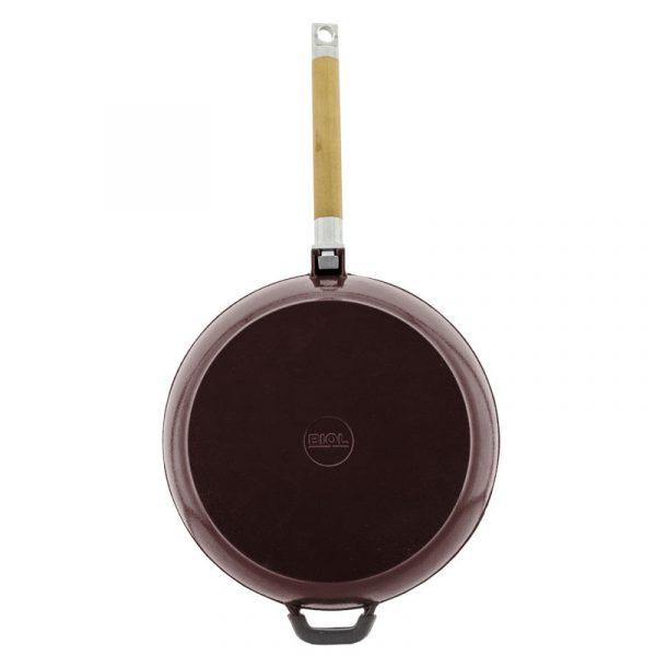 Cast iron deep frying pan, enamel coating dark chocolate, removable handle 03267E