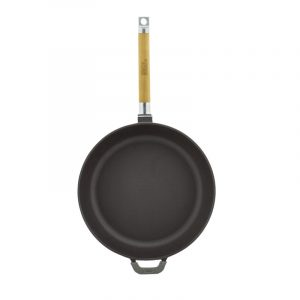 Cast iron deep frying pan, enamel coating dark chocolate, removable handle 03267E
