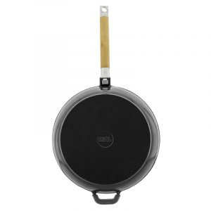 Cast iron deep frying pan, enamel coating black, removable handle 0324E