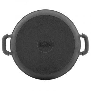 Сковорода порционная круглая чугунная, эмаль черная (матовая) 20146e