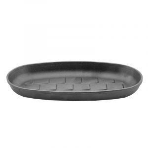 Сковорода порционная овальная чугунная, эмаль черная (матовая) 162616e