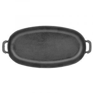 Сковорода порционная овальная с ручками, чугунная, эмаль черная (матовая) 21266E