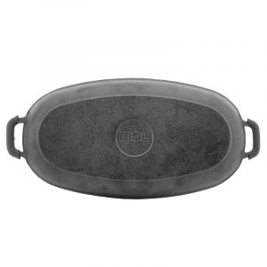 Cast iron portion pan oval with handles, enamel coating black (mat) 21266E