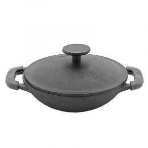 Сковорода WOK порционная чугунная с крышкой, эмаль черная (матовая) 18146E